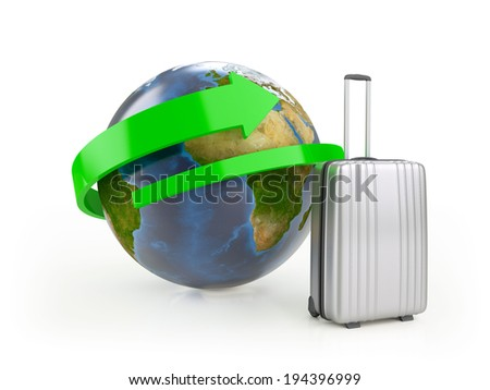 Silver plastic suitcase in front of Earth globe and green arrow isolated on white (Elements of this image furnished by NASA)
