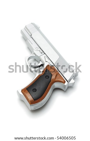 Silver plastic toy gun lying on white background - stock photo