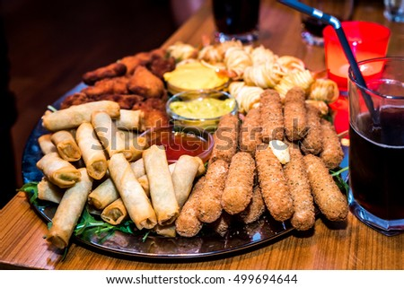 Silver Plate Full Appetizers Finger Food Stock Photo