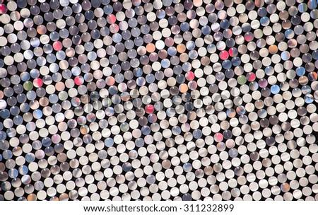 silver platelet mosaic - stock photo