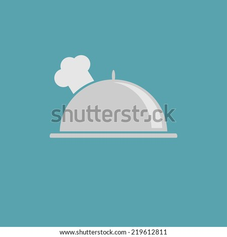 Silver platter cloche and chefs hat icon.  - stock photo