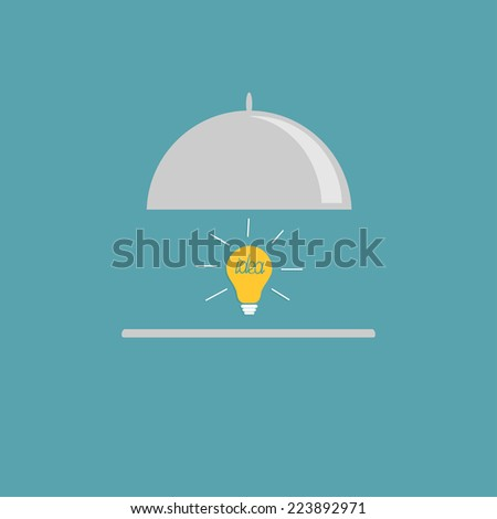Silver platter cloche and yellow idea light bulb. Flat design style.  - stock photo
