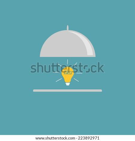 Silver platter cloche and yellow idea light bulb. Flat design style.  - stock photo