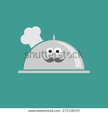 Silver platter cloche Chef hat with eyes and mustache. Flat design - stock photo