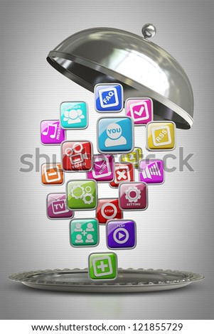 silver platter or cloche with APPS icons High resolution 3d render