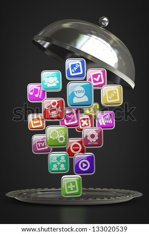 silver platter or cloche with APPS icons isolated on black background High resolution 3d render