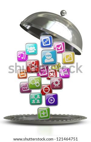 silver platter or cloche with APPS icons isolated on white background High resolution 3d render