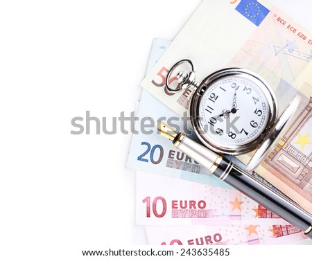 Silver pocket clock and money isolated on white. Time is money concept - stock photo
