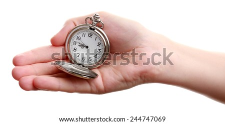 Silver pocket clock in hand isolated on white