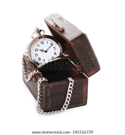 Silver pocket clock in wooden box isolated on white - stock photo