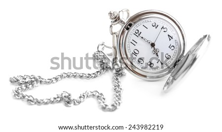 Silver pocket clock isolated on white - stock photo