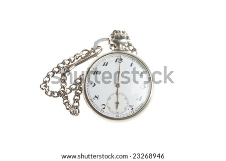 silver pocket clock with chain