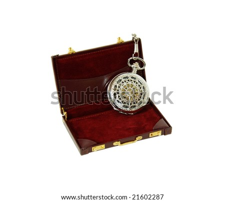 Silver pocket watch with a metal chain in a Burgundy leather Briefcase used to carry items to the office