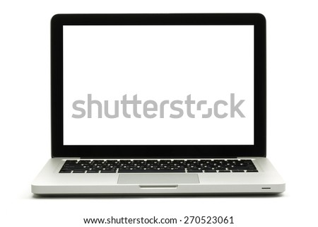 Silver portable computer with clipping path.Isolated white screen - Front view. - stock photo
