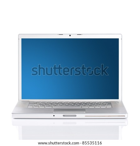 Silver portable computer with clipping path.Isolated white screen.Front view. - stock photo