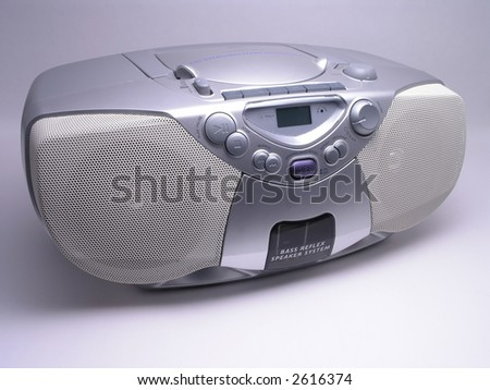 Silver Portable Music Boom Box - stock photo