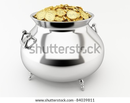Silver pot with gold coins isolated on a white background. - stock photo