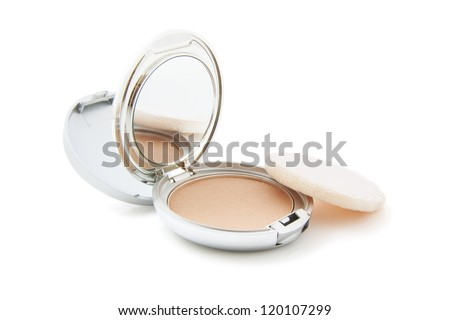 Silver powderbox isolated on a white background