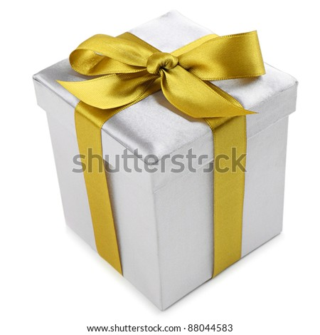 silver present with a golden ribbon on white background
