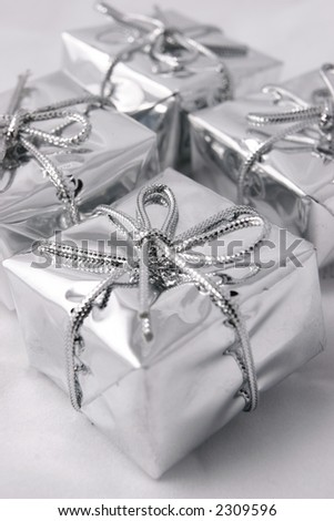 Silver presents - stock photo