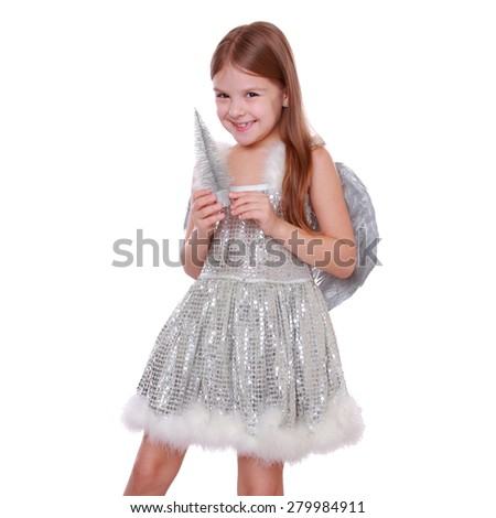 Silver pretty angel holding lovely  christmas decoration, isolated on white on Holiday theme/Portrait of beautiful little angel with silver christmas tree