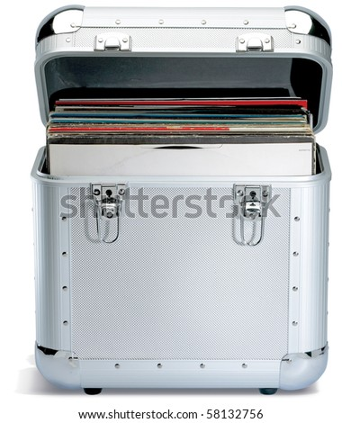 silver records lp dj box on a white background