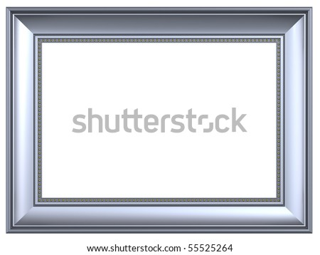 Silver rectangular frame isolated on white background. Computer generated 3D photo rendering. - stock photo