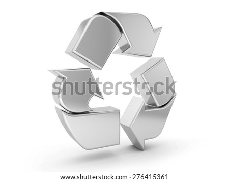 silver recycle symbol on a white background. - stock photo