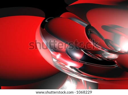 silver&red spheres - stock photo