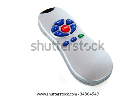 Silver remote control for television and satellite - stock photo