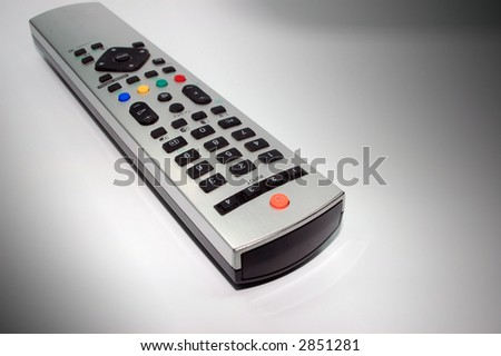 silver remote control made of aluminum - stock photo