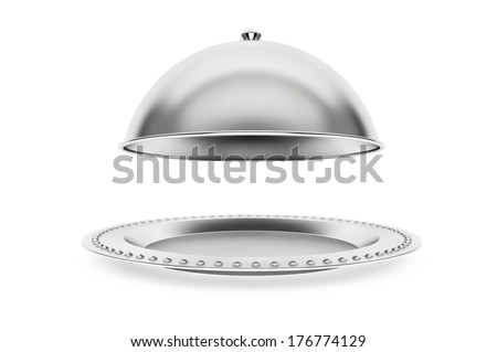 Silver Restaurant cloche on a white background