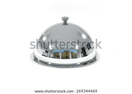 silver restaurant cloche on white surface isolated - stock photo