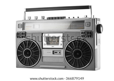 Silver retro ghetto blaster or audio boombox isolated on a white background - stock photo