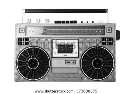 Silver retro ghetto blaster or audio boombox isolated  with clipping path - stock photo