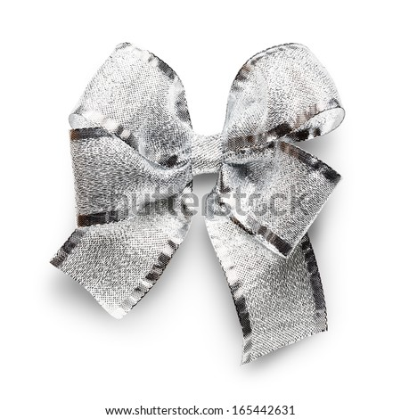 Silver ribbon bow isolated on white background clipping path included - stock photo