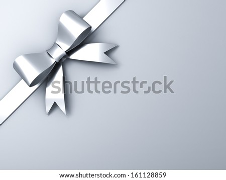 Silver ribbon bow on corner white or gray background - stock photo