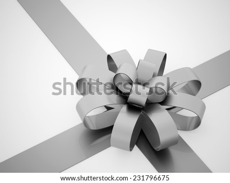 Silver ribbon concept rendered on white background