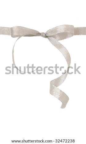 Silver ribbon with bow isolated - stock photo