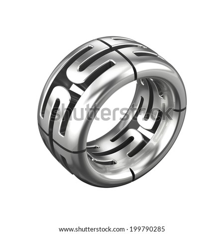 Silver ring isolated on white  - stock photo