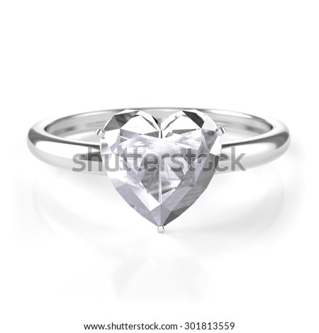 silver ring with heart shaped diamond - stock photo