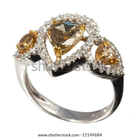 Silver ring with precious (with clipping path for easy background removing if needed)