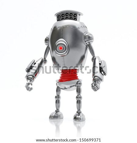 Silver Robot Standing, Isolated on White Background - stock photo