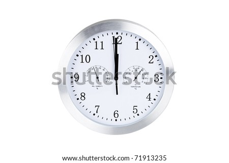 Silver round clock isolated on white background with clipping path.
