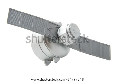 Silver satelite isolated on a white background - stock photo