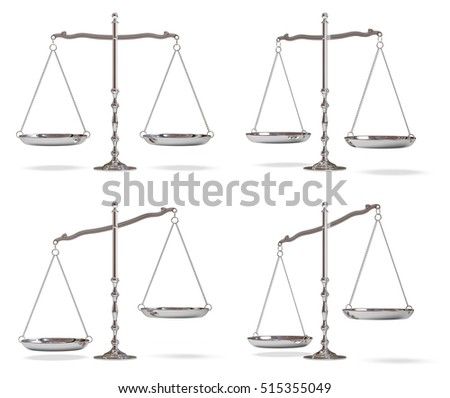 Silver scales of justice isolated on white background. 3D illustration.