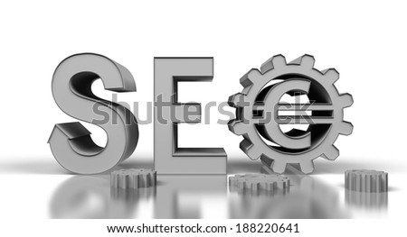 silver seo tag with gears wheel on a white background - stock photo