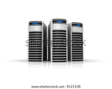 silver servers - stock photo
