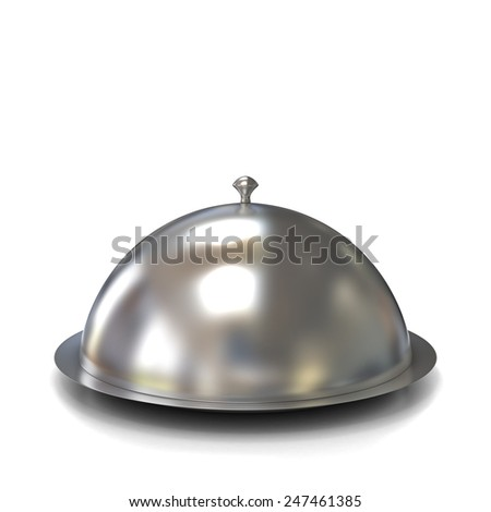 Silver Serving Dome or Cloche Isolated on a White Background - stock photo
