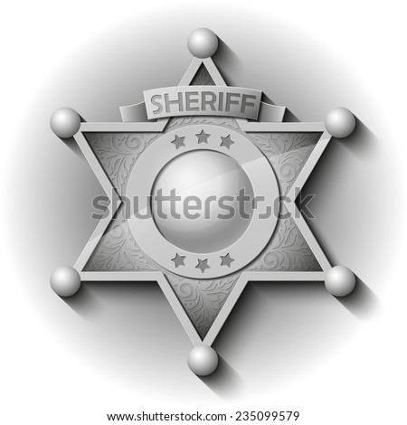 silver Sheriff Star over white background - stock photo